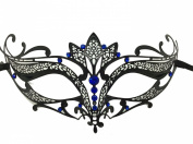 Black Majestic Metal Laser Cut Venetian Mardi Gras Masquerade Mask with Blue Diamond