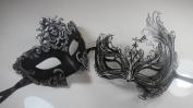 Masquerade Couples Venetian Impression Masks - 2 Piece Black Coloured Set