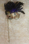Mysterious Musical Mardi Gras Venetian Masquerade Mask W/black/ Purple Feathers & Stick