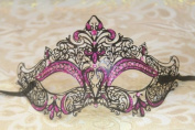 Mysterious Black w/ Pink with Gem and Glitter Laser Cut Venetian Swan Design Masquerade Mask for Mardi Gras Or Halloween