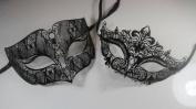Masquerade Couples Venetian Elegant Impression Masks - 2 Piece Black Coloured Set