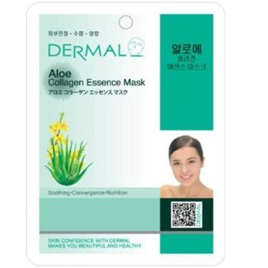Dermal Korea Collagen Essence Full Face Facial Mask Sheet - Aloe (100 pcs, 1box)
