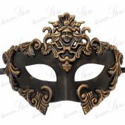 Gold Greek Venetian Masquerade Mask - Roman Warrior Venetian Masquerade Mask - Metallic Gold Sun God Mask