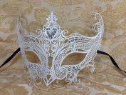 Grand Swan Venetian Impression Design Masquerade Mask Decorated with Beautiful Gems- White