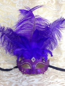 Grand Venetian Impression Purple Swan Laser Cut Masquerade Mask - Vibrantly Decorated with Gem Crystals and Purple Feathers