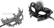 His & Hers Masquerade Couples Venetian Design Masks Sun God - 2 Piece Coloured Set - Perfect Couple Mardi Gras Majestic Party Halloween Ball Prom