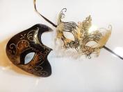 Holiday Black and Gold Couple Mask Set - Bestselling Half Phantom and Gold