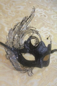 Magic Fairy Black Beuty Queen with Black Glitter Laser Cut Venetian Halloween Party Ball Prom Shows Masquerade Mask w/ Innovation Design