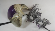 Masquerade Couples Venetian Impression Elegantly Design Masks - 2 Piece Purple Coloured Set