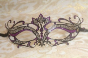 Mysterious Black and Purple Laser Cut Venetian Swan Slim Design Masquerade Mask for Mardi Gras Or Halloween