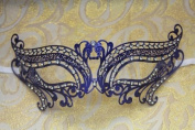 Mysterious Blue Laser Cut Venetian Swan Swirl Design Masquerade Mask for Mardi Gras Or Halloween - Decorated With Gem Crystals