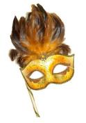 Mysterious Classic Orange Mardi Gras Venetian Masquerade Mask W/feathers & Stick