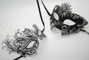 Roman Greek Black and Goddess Set - His & Hers Swan Masquerade Masks [Antique Black Themed] - New Year's Eve, Mardi Gras Theatre