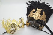Roman Greek God and Extravagant Goddess Set - His & Hers Masquerade Masks [Antique Gold Themed] - New Year's Eve, Mardi Gras Theatre