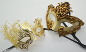 Roman Greek God and Goddess Set - His & Hers Luxury Phantom Masquerade Masks [Antique Gold Themed] - New Year's Eve, Mardi Gras Theatre