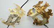 Roman Greek God Goddess Set - His & Hers Queen Masquerade Masks Antique Gold