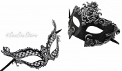 Silver Madusa & Exotic - His & Hers Masquerade Couples Venetian Design Masks 2 Piece Coloured Set - Perfect Couple Mardi Gras Majestic Party Halloween Ball Prom
