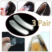 Uhome 2014 style 3 Pairs transparent Silicone Back High Heel Liner Gel Cushion Pads Insole High Dance Shoes Grip Heel Grips