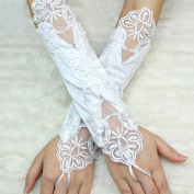 Fancasen White Flower Bridal Fingerless Lace Pearls Wedding Gloves with Pearl