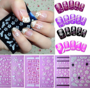 Sannysis 6PC Flowers Bow Lace Butterfly Snow Nail Art 3D Stickers Beauty Nail Salon For Girls