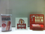 MEAT MANIAC Bacon Lovers Combo Gift Pack with Sticker- Bacon Bandaids & Bacon Lip Balm