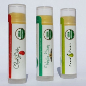 Usda Certified Organic Lip Balm Intense Moisture for Dry Chapped Lips Hydrate with All Natural Chapstick Get All Three Cherry Balm, Vanilla Bean and Iced Pear From Skin Perfection