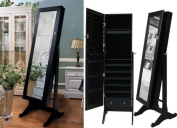 Black Mirrored Jewellery Cabinet Armoire Stand, Mirror, Necklaces, Bracelets, Rings