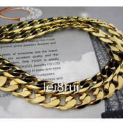 "Chunky 22"" 12mm 24k Yellow Gold Plated Men's Necklace Solid Curb Chain Jewellery"