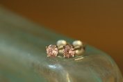 Platinum Plated Sterling Silver CZ Stud Earrings - Pink