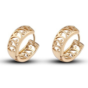 Hollow Out Flower Crystal 18k Gold Plated Earring Stud Women Jewellery + 925 Sterling Silver Earnuts Gs0453