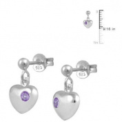 Kids Jewellery - Silver June Birthstone Heart Dangling Earrings