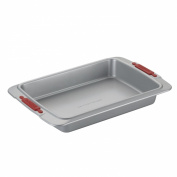Cake Boss Deluxe Nonstick Bakeware 23cm by 33cm Cake Pan, Grey with Red Silicone Grips