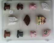Victorian small fan, corset, house, top hat AO110 All Occasion Chocolate Candy Mould