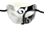 Silver Black Antique Greek Roman Warrior Men Venetian Mardi Gras Party Masquerade Mask