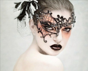Lady Black Phantom Laser Cut Venetian Masquerade Mask with Rhinestones Event Party Ball Mardi Gars