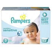 Pampers Swaddlers Sensitive Size 3 Nappies Economy Plus Pack - 144 Count -