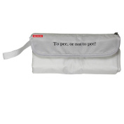 """Baby Nappy Clutch Changing Bag - """"To Pee, or not to pee."""" White"""