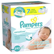 Pampers Sensitive Baby Wipes, Flip Top, Unscented, 392 Ct