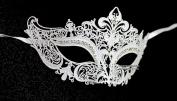White Crown Laser Cut Venetian Masquerade Mask with Rhinestones Event Party Ball Mardi Gars