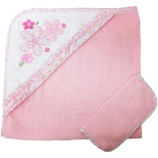 Koala Baby Boutique Girls Floral Hooded Towel and Washcloth Set - Pink/White