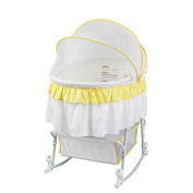 Dream On Me Lacy Portable 2-in-1 Bassinet and Cradle - Yellow/ White