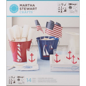 Plaid:Craft Martha Stewart Medium Stencils 2 Sheets/Pkg-Nautical Study 22cm x 25cm 14 Designs