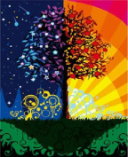 Diy oil painting, paint by number kit- Abstract tree 16*50cm .