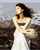 Diy oil painting, paint by number kit- Sea breeze 16*50cm .