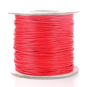 Beadnova 1mm Waxed Cotton Beading Cord Waxed String Wax Coating Cord 100 yards Roll Spool - Red Colour