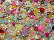 500pc Assorted Size & Colour Hearts, Stars, Flowers, Pearls, Bows Flat Back Pearls Cabochons BONUS PEPPERLONELY Refrigerator Magnet