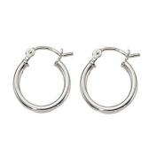 Sterling Silver 2mm x 15mm Small Hoop Earrings Click Down - 1 Pair