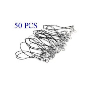 Cosmos 7.6cm Black 50 PCS Cellphone Strap with Silver Colour Tone Split Ring and Lobster Clasp and Free Cosmos Cable Tie