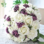 Qishi's Rose Artificial Purple & white Bouquet-bridal Wedding Bouquet 30 Pcs