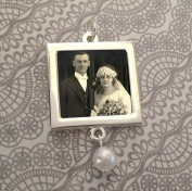 Bridal Wedding Bouquet Photo Charm w/ Pearl Dangle Bead